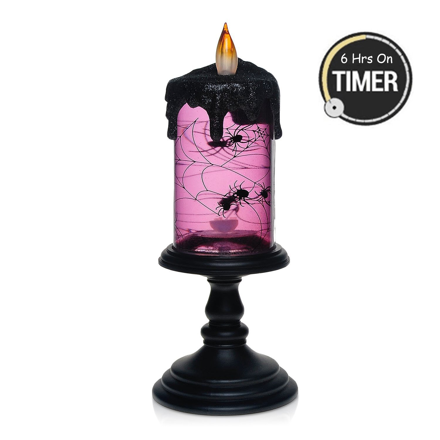 Halloween Spider Tornado LED Lighting Flameless Candle with Timer, Battery Operated Table Centerpiece for Home and Party