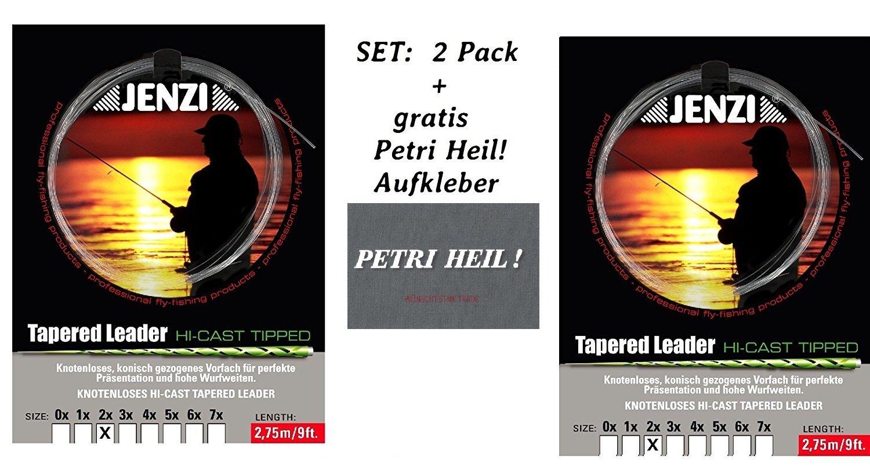 Set: 2Pack Tapered Leader de mosca Antes compartimento 2x/0,22Petri Heil/0,44+ Gratis. Pegatinas Jenzi