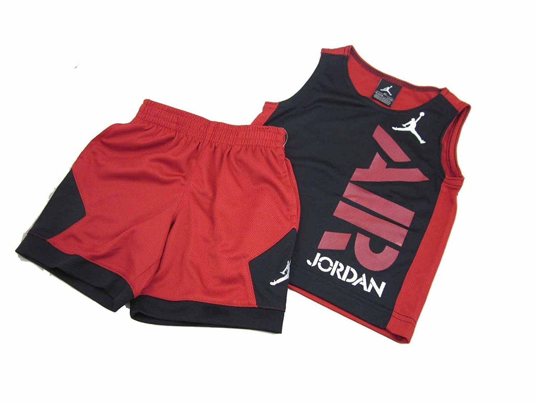 Jordan 2 Piece Clothing Set Shorts & Tank (4T, Black/Gym Red Air Jordan Vertical )