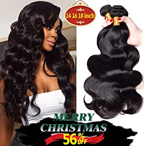 YOUFA Virgin Hair bundle, 8A Body Wave Human Hair Extensions 3 Bundles Unprocessed Remy Hair Weave Weft Natural Color (14 16 18 Inches)