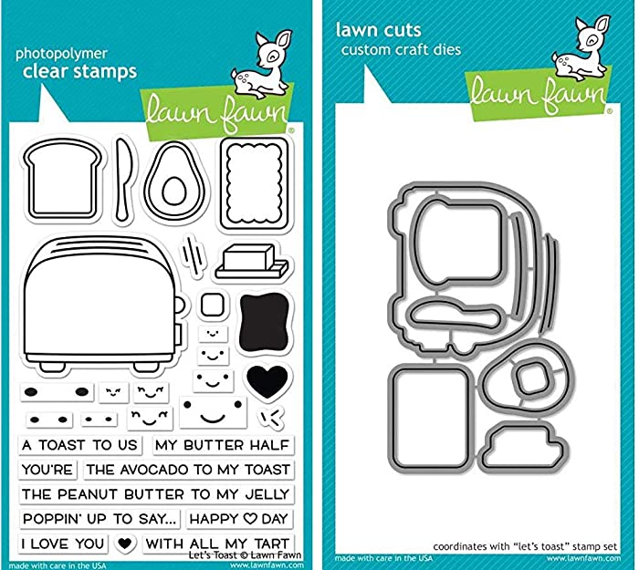 Lawn Fawn - Toaster Themed Stamp & Die Set - Let's Toast - 2 Items