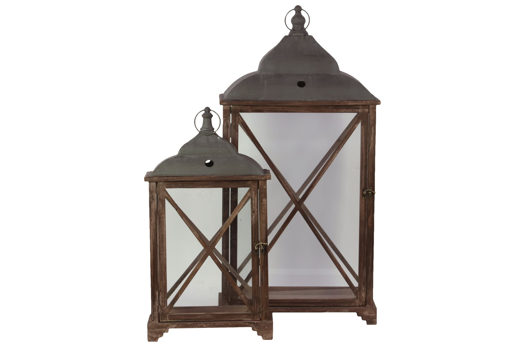 Urban Trends 46013 Rectangular Lantern with Cast Iron Top, Metal Ring Handle and Glass Sides Set of Two Stained Wood Finish Sienna Brown
