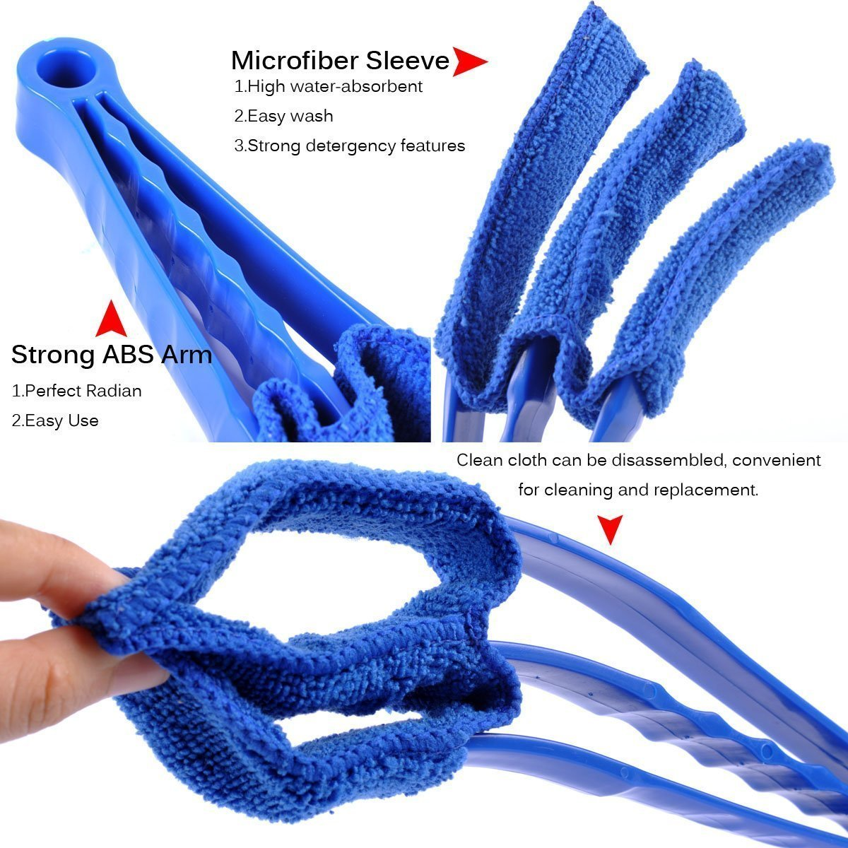 Window Blinds Duster Brush with 1 Microfiber Sleeve by CharaVector Removable for Window Blinds Duster Air Conditioner Jalousie Dust Cleaner, Blue