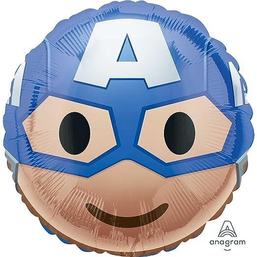 Anagram Marvel Superhero Emoji Style Foil Party Balloon, 17 inches (Captain America)