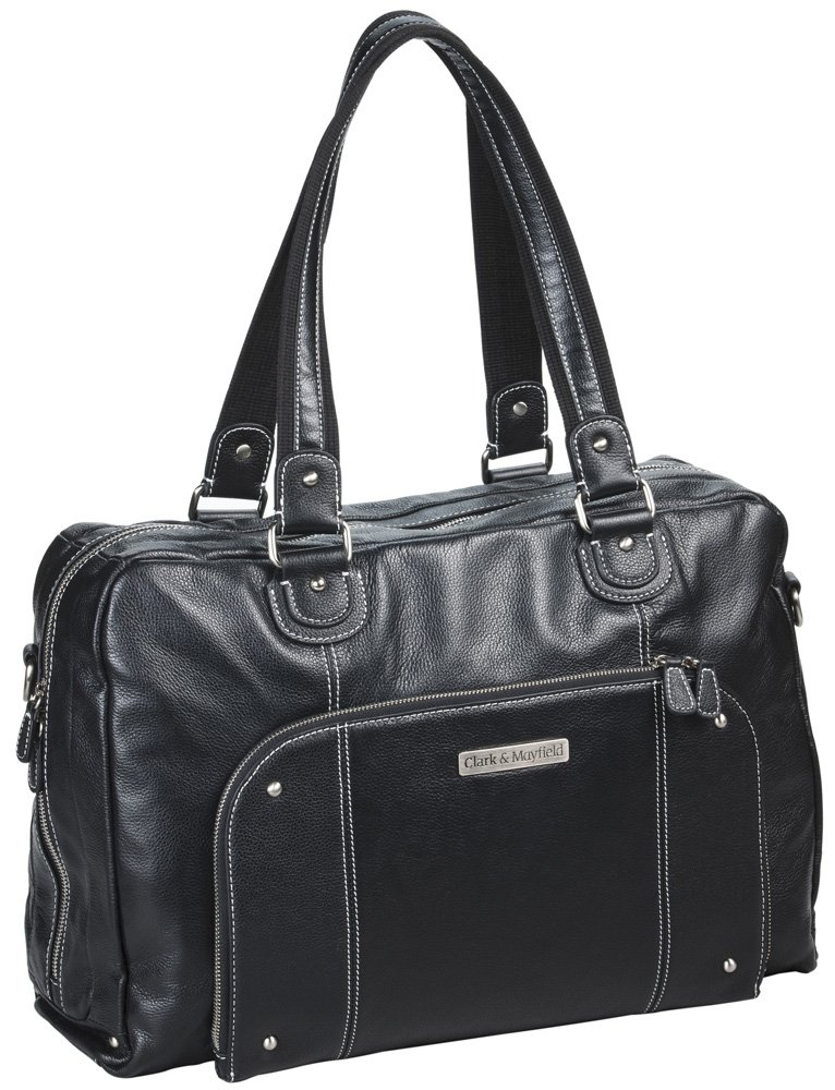 Clark & Mayfield Morrison Leather Laptop Handbag 18.4'' (Black)