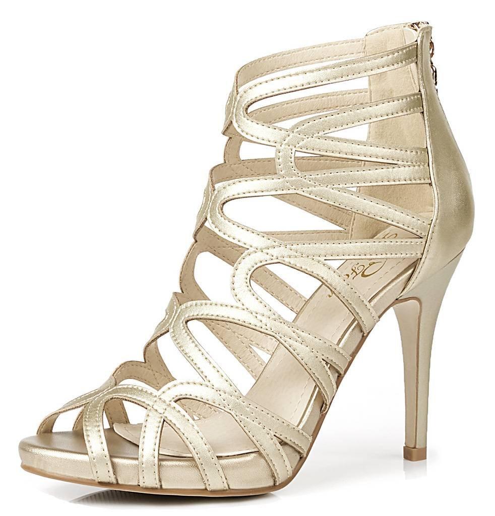 LizForm Women Crisscrossed Platform Sandal Shoes Back Wedding Dress Pumps Strappy High Heel Shoes Gold 7.5