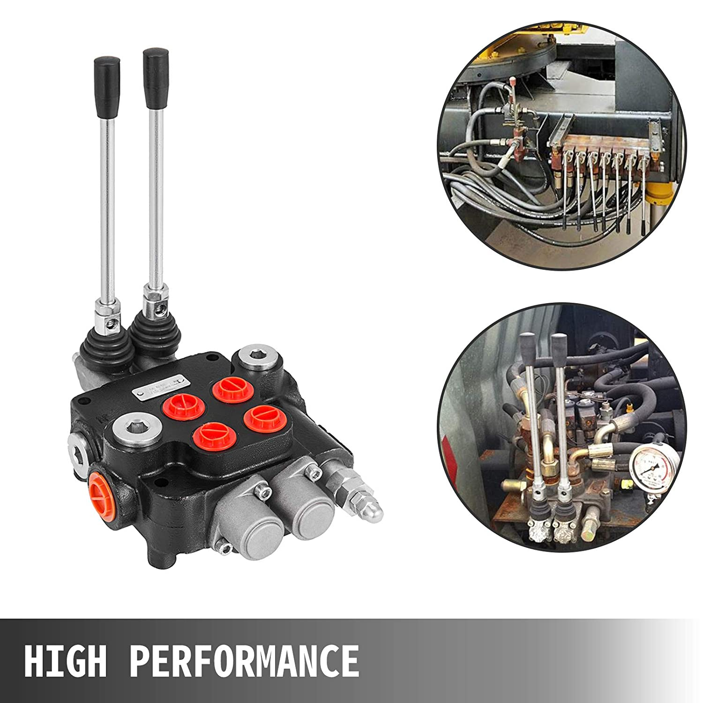 Mophorn V/álvula Control Hidr/áulico 2 Carretes Doble Acci/ón 21 GPM 3600 PSI Puertos SAE