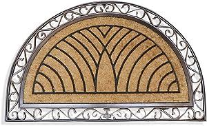 "A1 Home Collections Door Mat, Half Round Striped Rubber and Coir Outdoor Welcome Mat Doormat, 30"" x 48"", Bronze"