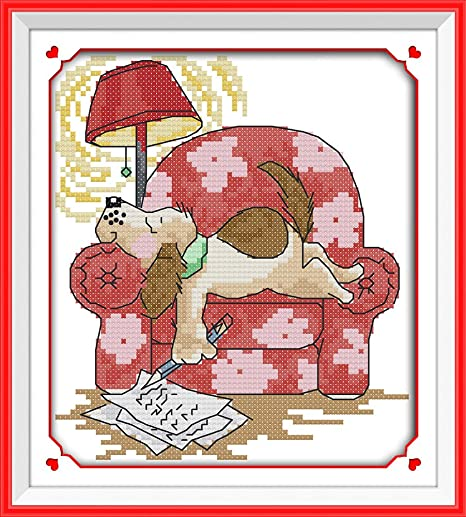 Animals Christmas 15/×13 Maydear Cross Stitch Kits Stamped Full Range of Embroidery Starter Kits for Beginners DIY 11CT 3 Strands inch