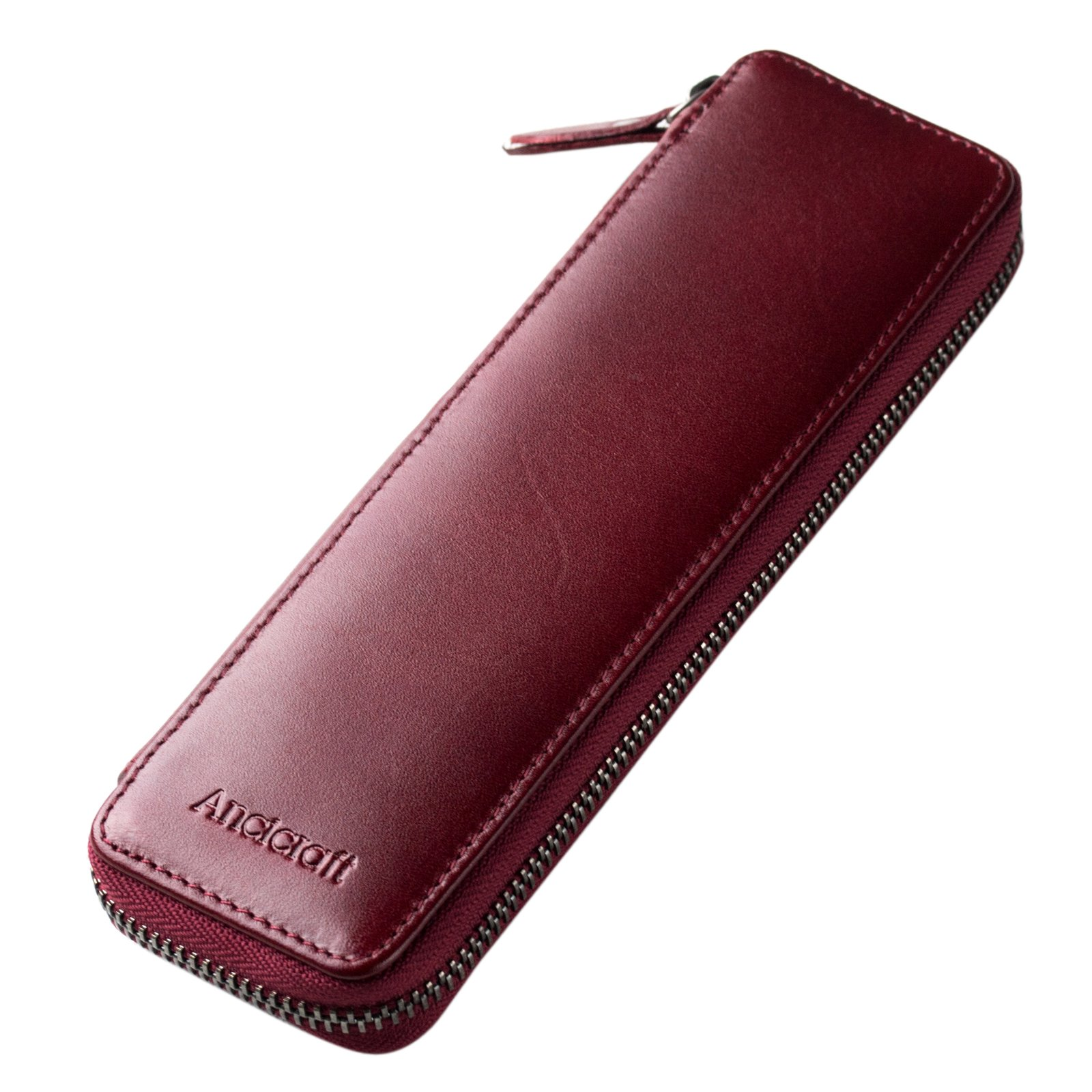 Ancicraft Pencil Case Leather Pouch Fountain Pen Holder With Zipper For Men Women (Wine Red) by Ancicraft