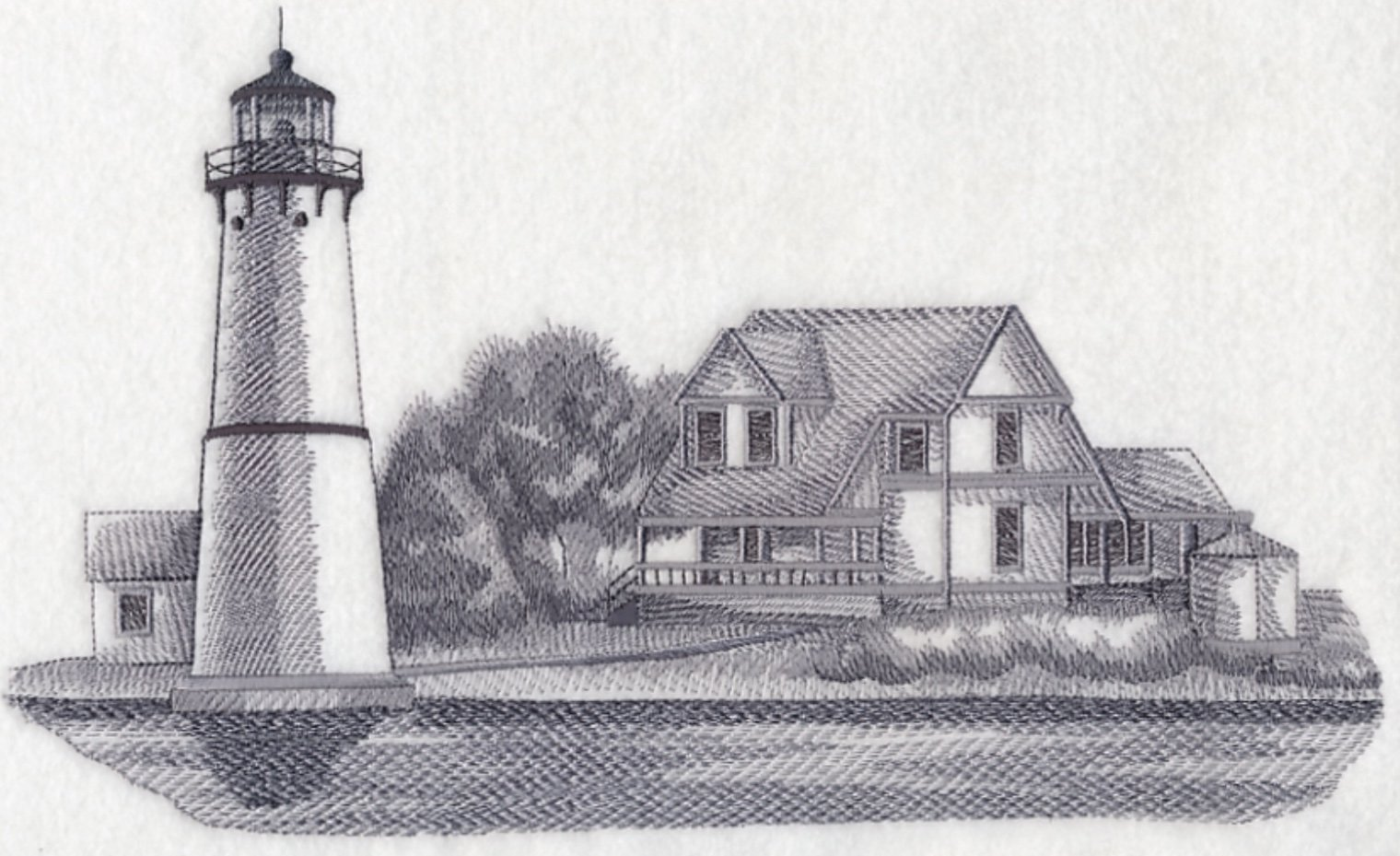Rock Island Lighthouse New York Custom Embroidered Sweatshirt Shirt by SewUnusuals