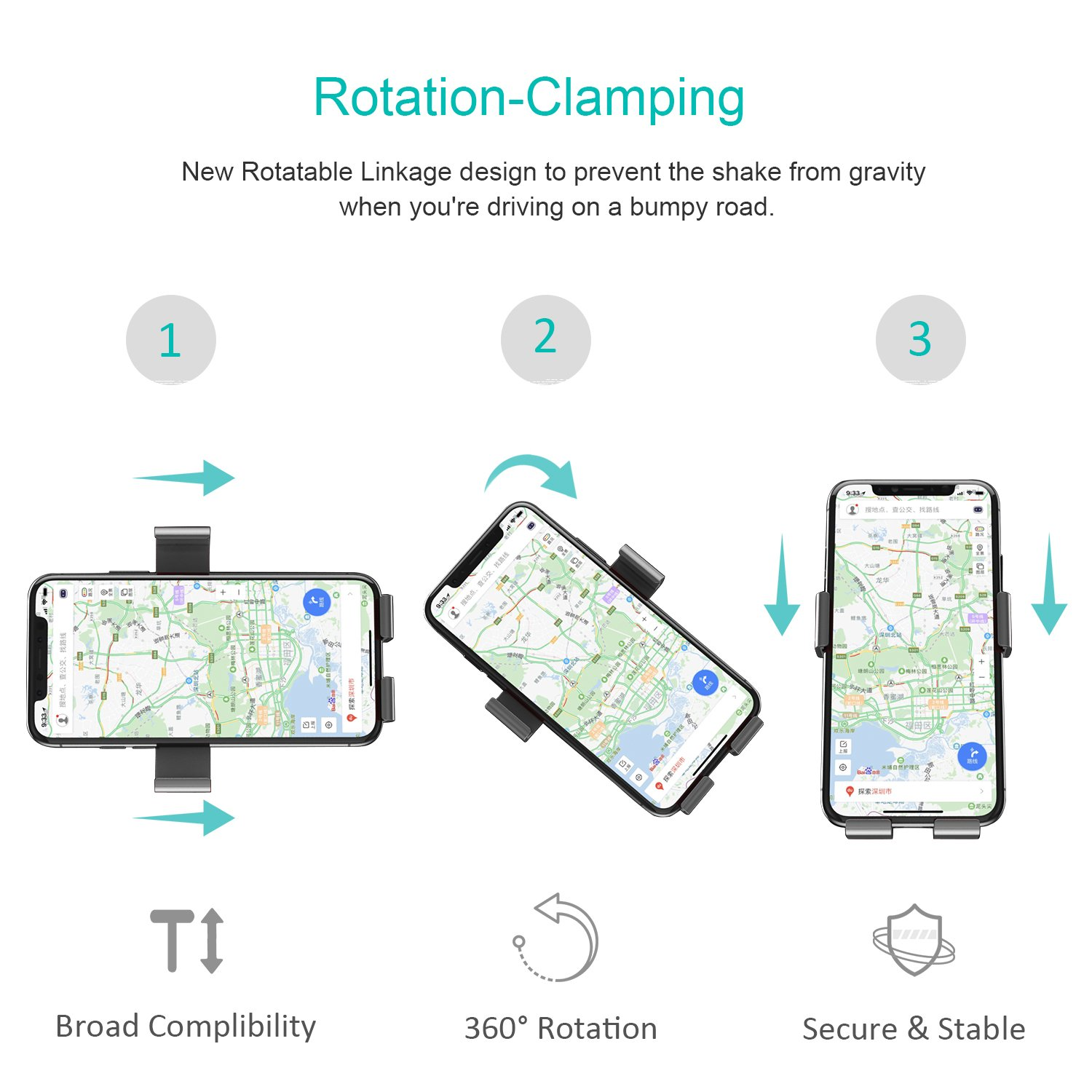 Car Phone Mount, Anti-Weightlessness Blue USAMS Cell Phone Holder for Car Universal Air Vent Car Phone Holders Cradle for iPhone X//8//8 Plus//7//7P//6s//6P Samsung S9//S9 Plus//S8//S8 Plus Huawei and More