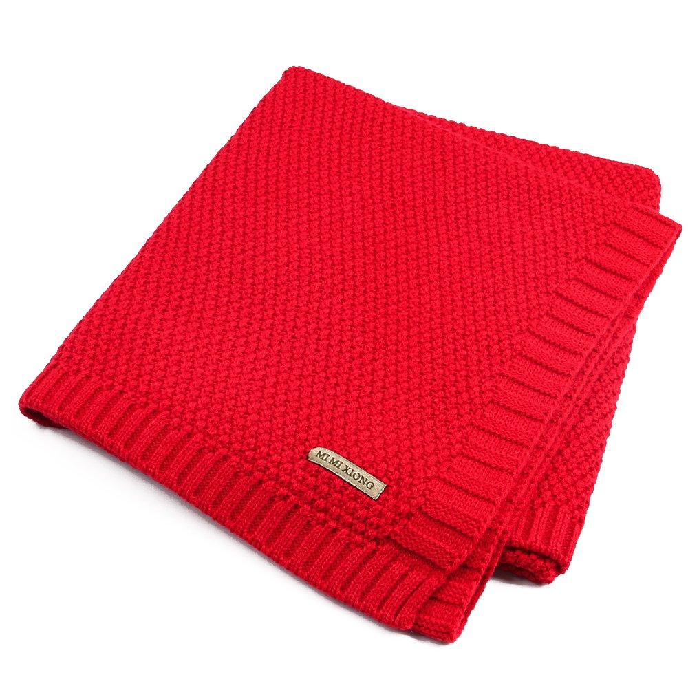 Pueri Knit Baby Blanket Soft Sweater Knit Swaddle Blanket Stroller Nursery Blanket For Boys Girls Kids
