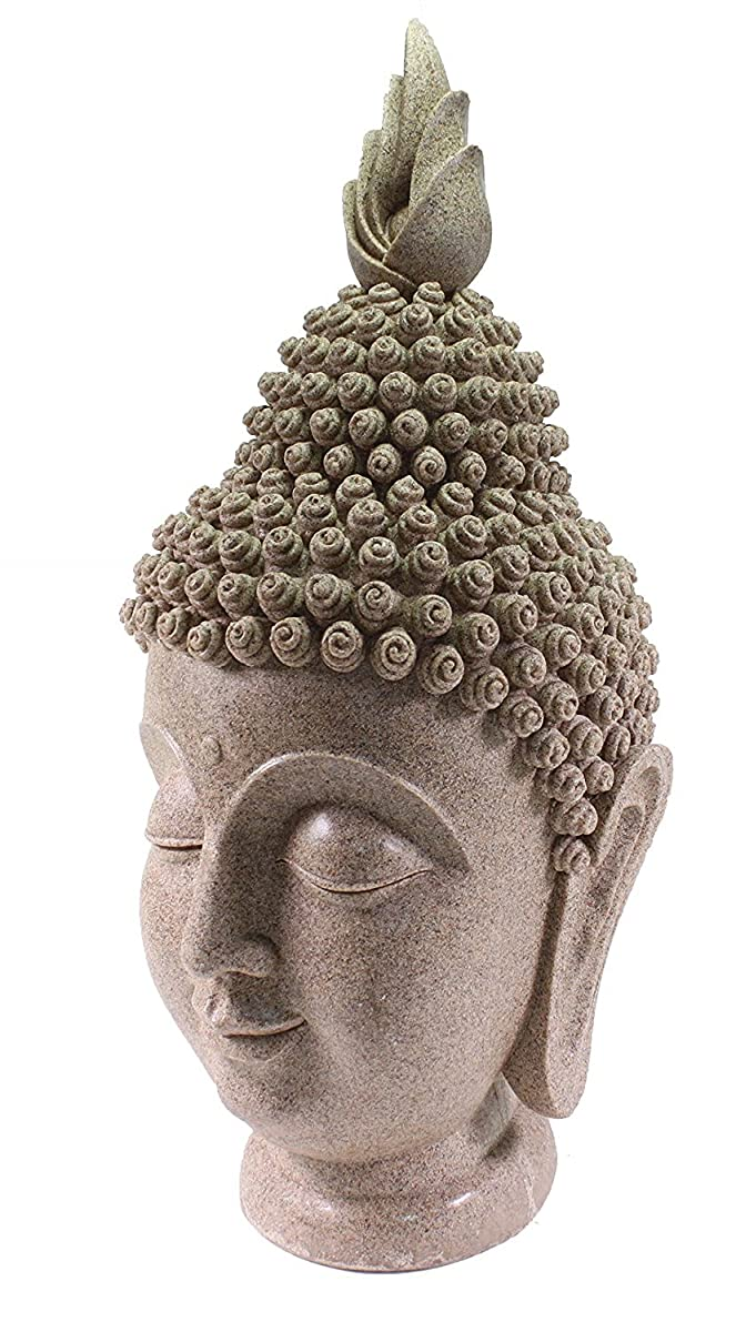 "Smiling Meditating Buddha Shakyamuni Head Statue Large 15"" Tall Blessing Mercy & Love"
