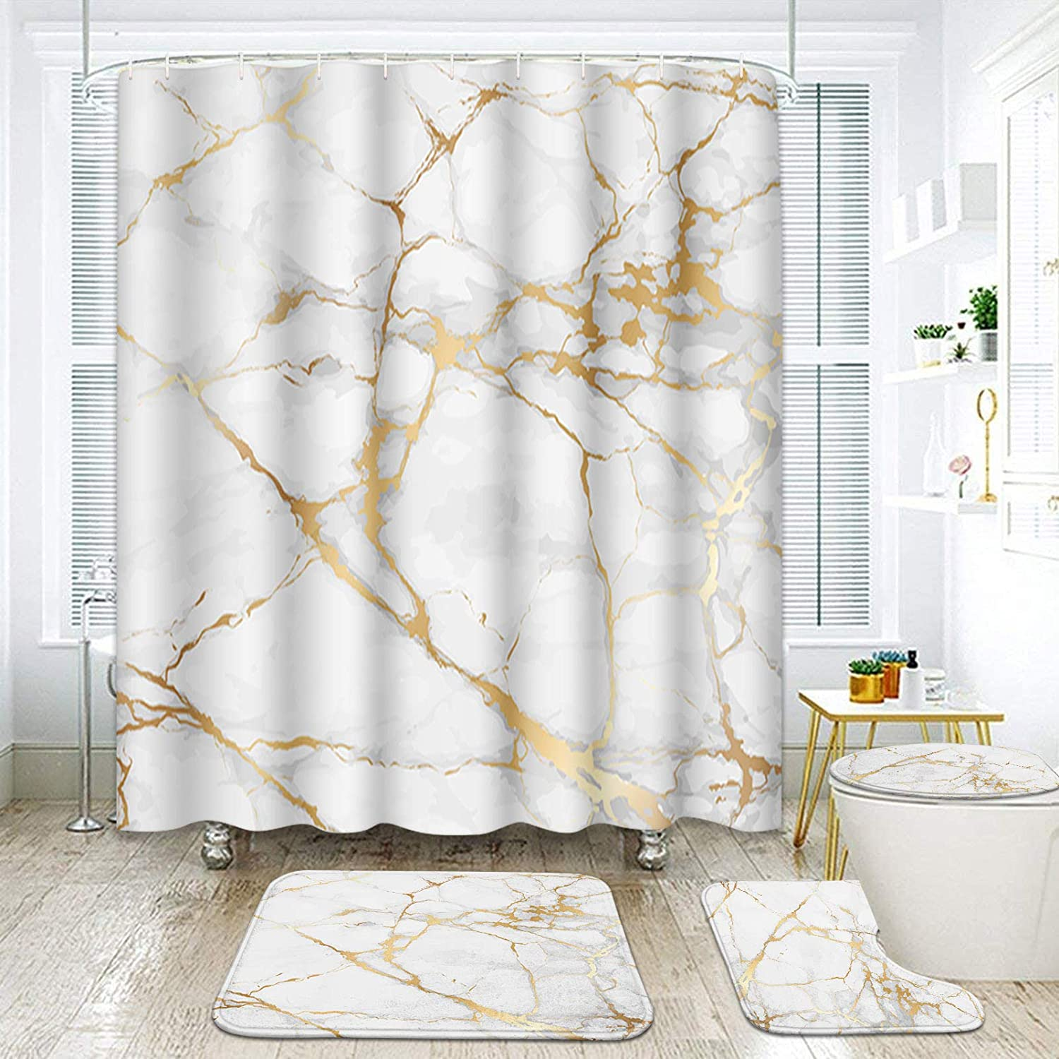 ArtSocket 4 Pcs Shower Curtain Set Marble Gold White Black Geometric Rose Stone Abstract Modern Vintage White Golden with Non-Slip Rugs Toilet Lid Cover and Bath Mat Bathroom Decor Set 72