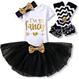 NNJXD Girl Newborn It's My 1st Birthday 3 Pcs/4 pcs Outfits Romper+Skirt+Headband(+Leggings)