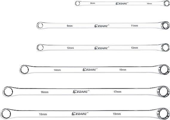 m/ódulo de doble anillo 6 piezas Cromadas 8-19 mm EZARC Juego de llaves combinadas