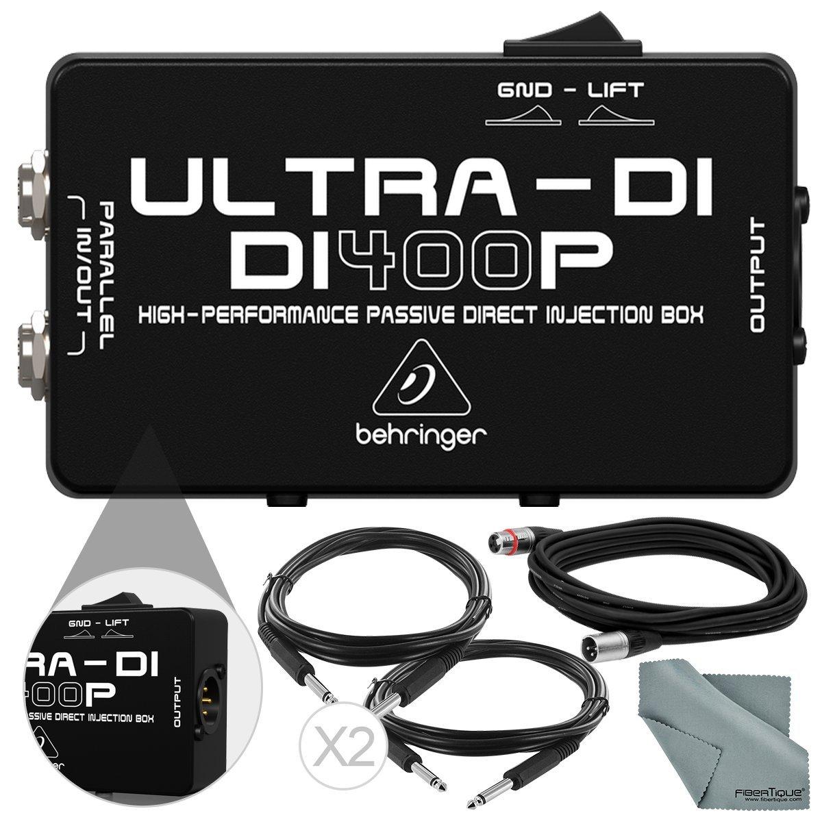 Behringer DI400P Ultra-DI Passive Direct Box & Accessory Bundle w/ XLR Cable, 2X 1/4'' Cable, Fibertique Cloth