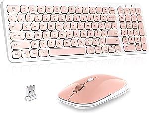 Wireless Keyboard Mouse Combo, cimetech Compact Full Size Wireless Keyboard and Mouse Set Less Noise Keys 2.4G Ultra-Thin Sleek Design for Windows, Computer, PC, Notebook, Laptop (Bright Pink)