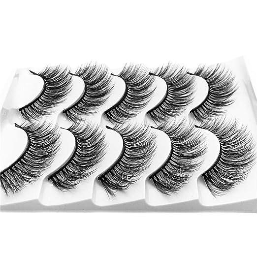 4d318cc0d41 Amazon.com : Bessyn False Eyelashes 5 Pair Imitation Mink 3D Fluffy Strip  Eyelashes Long Natural Party Flash Eyelash Serum Ultra Thick Ultra Soft  Handmade ...