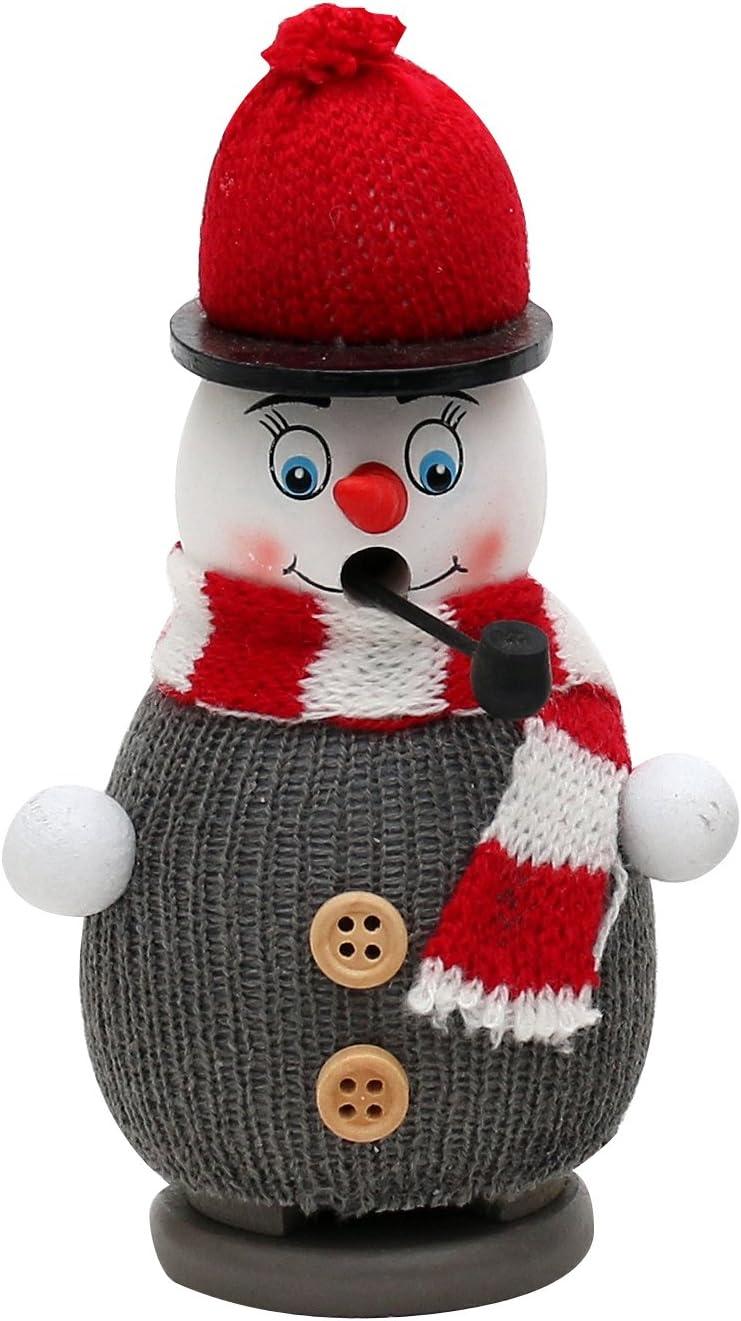 ca Dekohelden24 Lustiger R/äucherschneemann mit Strickm/ütze Pullover und Schal 13,5 cm