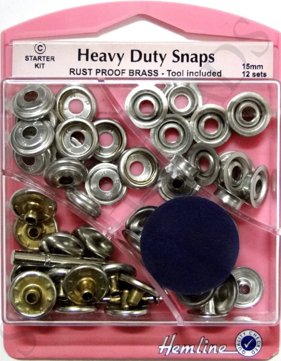 Silver Heavy Duty Snaps 15mm x 12 Sets Poppers Fasteners Press Studs BNIP Choose Type