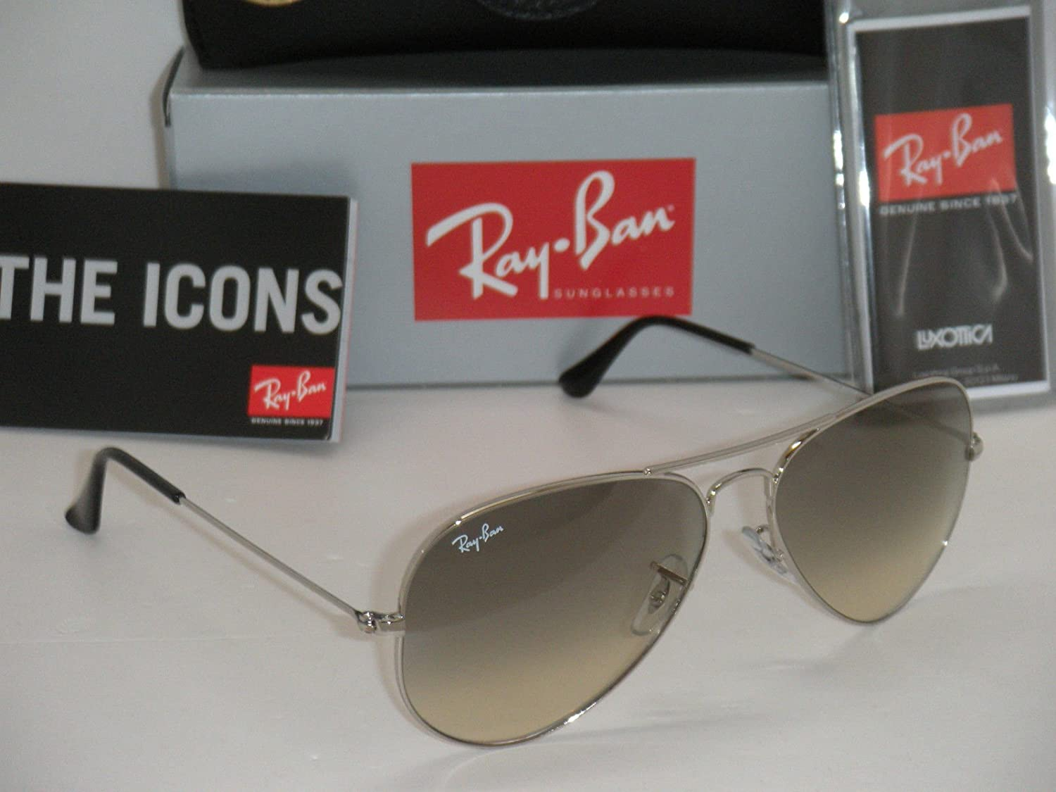 Amazon.com: New Ray Ban Aviator Rb3025 003/32 Plata/Crystal ...