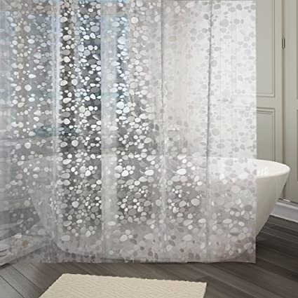 Generic Khushi Creation PVC Shower Transparent Curtain in 3D Coin Design, 8ft 54x96-inches WxH(White, ppq90)