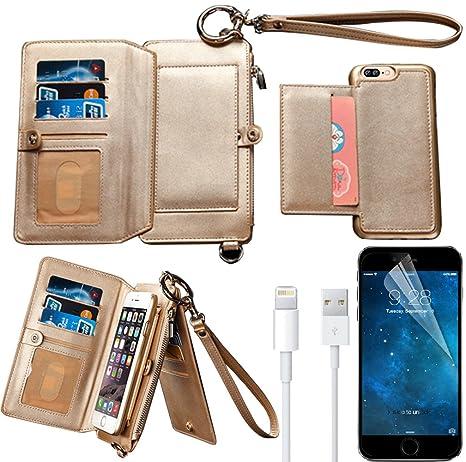 the latest d7bbc 64370 iPhone 7 Plus Wallet Case, iPhone 7 Plus Case, Bonice Premium Leather  Zipper Wallet Multifunctional Detachable Removable Purse Card Slot Pocket  Wallet ...