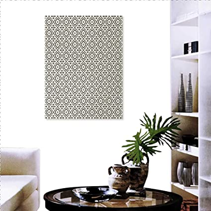 Warm Family Quatrefoil Stickers Wall Home Edwardian Style Vintage  Tessellation Pattern In Plain Colors Rich Floral