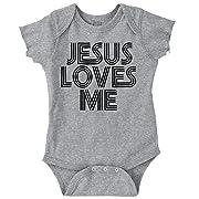 Jesus Loves Me Christian Christ Cute Funny Romper Bodysuit