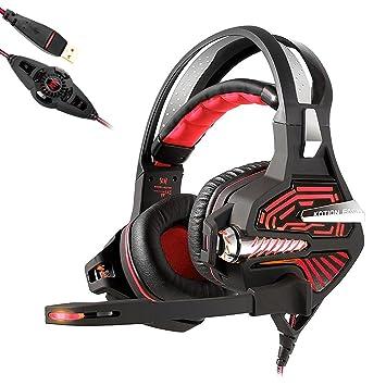KOTION EACH GS100 USB Auriculares Gaming Cascos Sonido Envolvente 7.1 Vibración Bajo Pesado Gaming Headset Auriculares