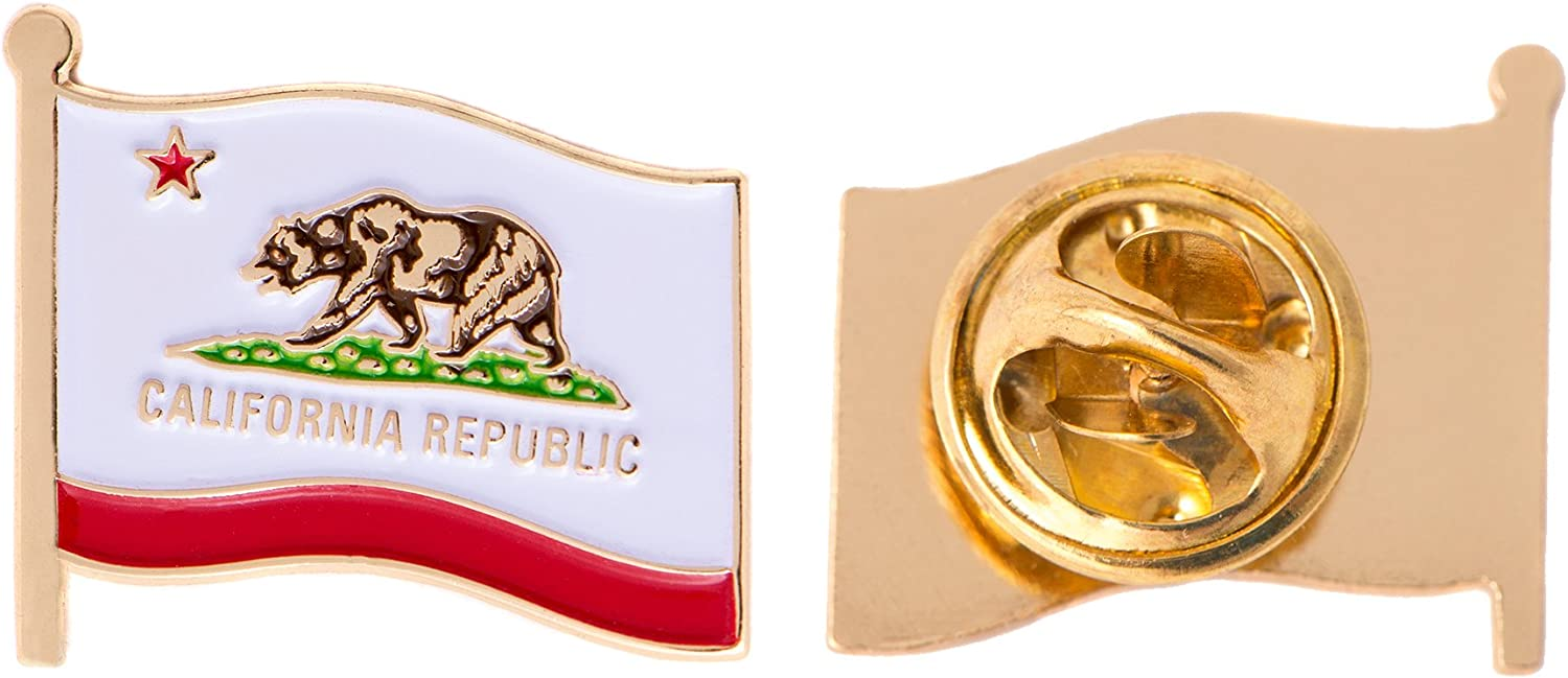 California Republic State Flag Lapel hat tie pin Tack