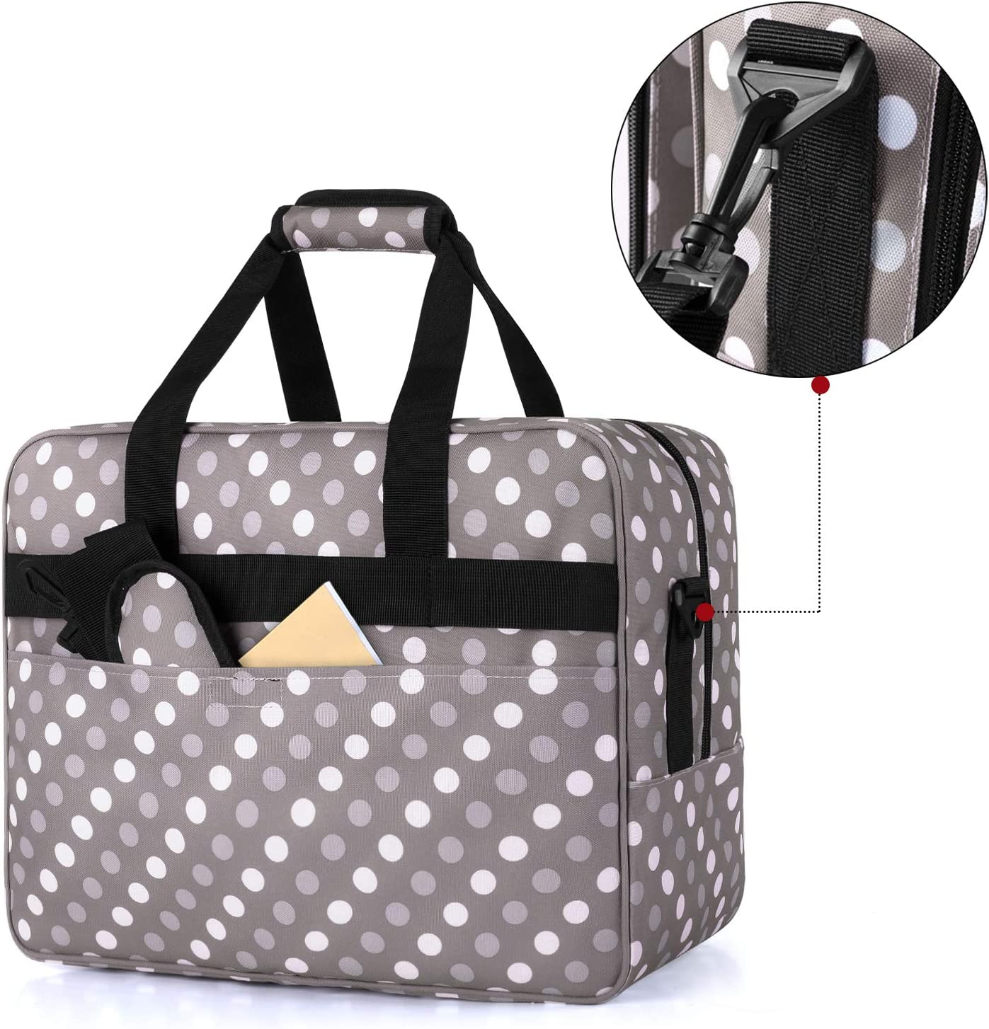 Black Luxja Sewing Machine Bag Brother Sewing Machines and Extra Sewing Accessories Portable Tote Bag Compatible with Most Singer