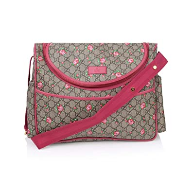 0653d223e Amazon.com: Gucci Rose Bud Zip Pink Print GG Canvas Diaper Bag Beige Girl  Baby Italy New: Shoes