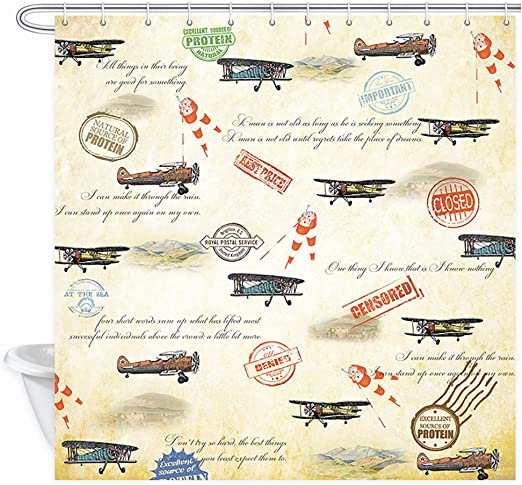Vintage Airplane Shower Curtain Old Airliner Print for Bathroom