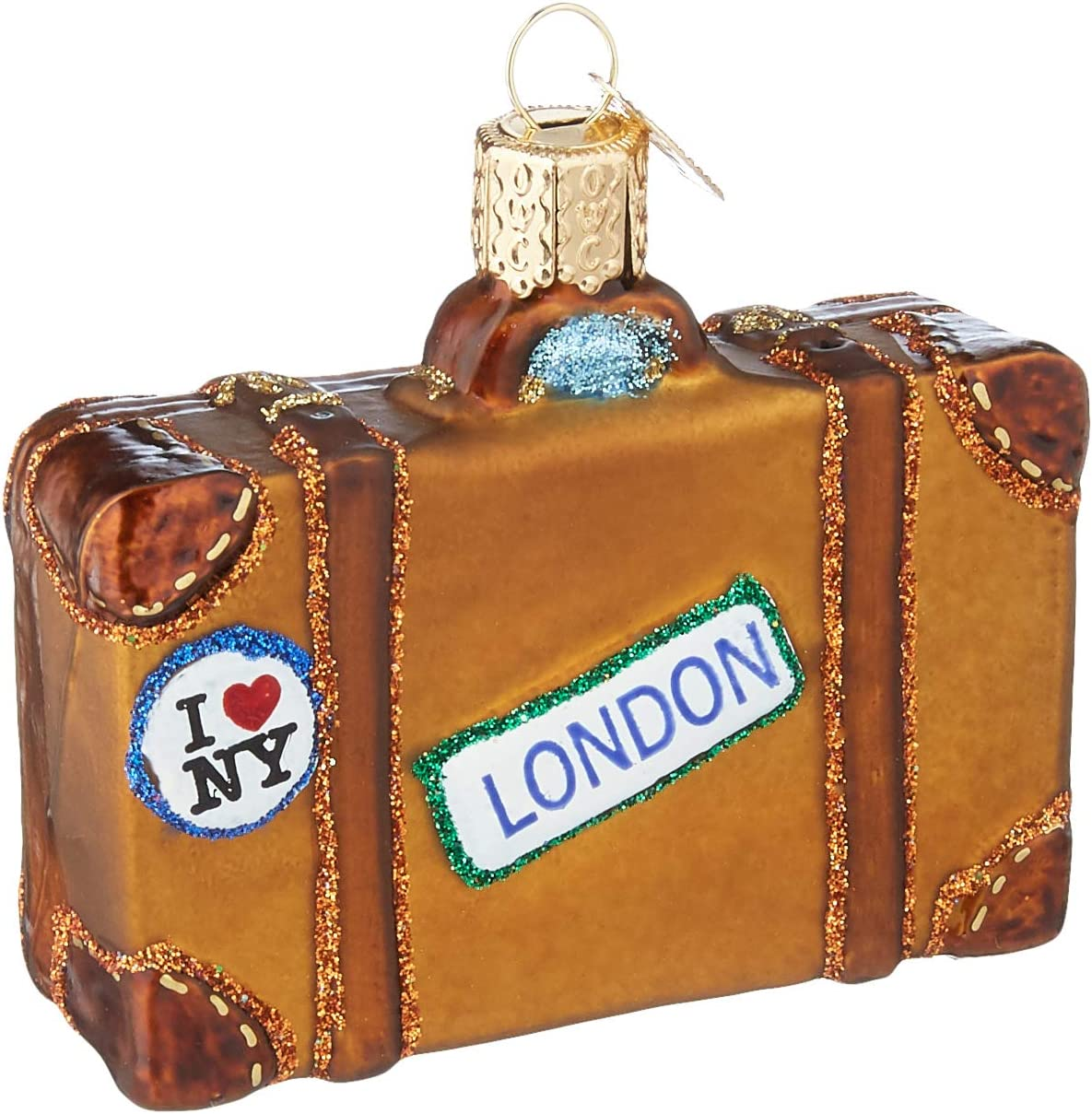 Old World Christmas Cities, Places and Landmarks Glass Blown Ornaments for Christmas Tree Suitcase