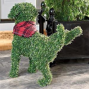 Decorative Peeing Dog Topiary - Decorative Pet Garden Statue,Lakeside Pet Garden Statue with Whimsical Faux Boxwood Garden Dog,Garden Yard Décor,Artificial Outdoor Topiary Yard Décor (D)