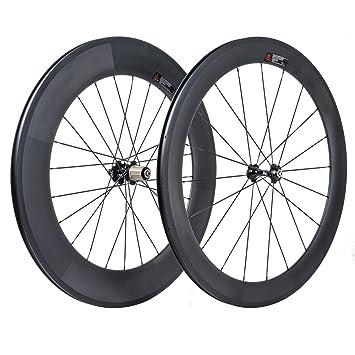 VCYCLE 700C Carretera Bicicleta Carbono Juego de Ruedas Delantera 60mm Trasero 88mm Remachador 23mm Anchura Shimano o Sram 8/9/10/11 Velocidades: Amazon.es: ...