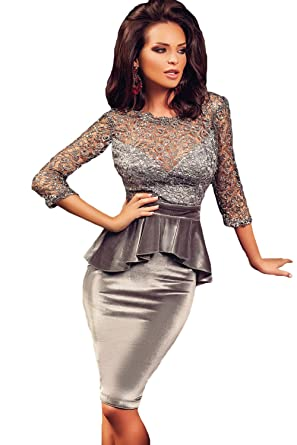Prime Leader Shiny Hollowed Lace Top Velvet Peplum Dress(as shown,M)For