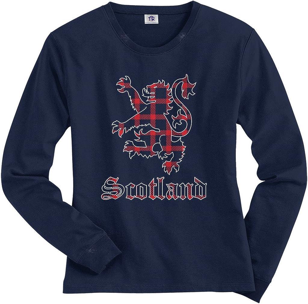 Threadrock Women's Plaid Lion of Scotland Long Sleeve T-Shirt 7147Bk2XSZL