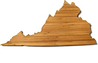 """product image for AHeirloom: The Original Virginia State Shaped Serving & Cutting Board. (As Seen in O Magazine, Good Morning America, Real Simple, Brides, Knot.) Made in the USA from Organic Bamboo, Large 15"""""""