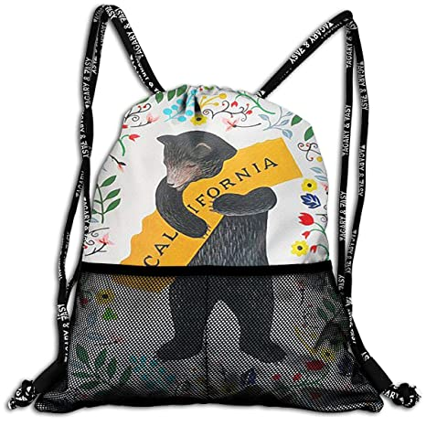 ed41bbd53e00 Amazon.com | California Bear Drawstring Backpack Bags Sport Gym ...