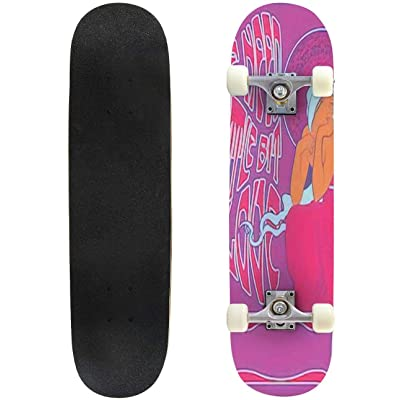 Classic Concave Skateboard Psychedelic Art Poster 1960s 1970s Hippie Girl Long Hair Decorative Longboard Maple Deck Extreme Sports and Outdoors Double Kick Trick for Beginners and Professionals : Sports & Outdoors