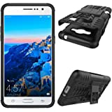 J2 Prime Case, Tyre Pattern Design Heavy Duty Tough Armor Extreme Protection Case with Kickstand Shock Absorbing Detachable 2 in 1 Case Cover for Samsung Galaxy J2 Prime G532. Hyun Black