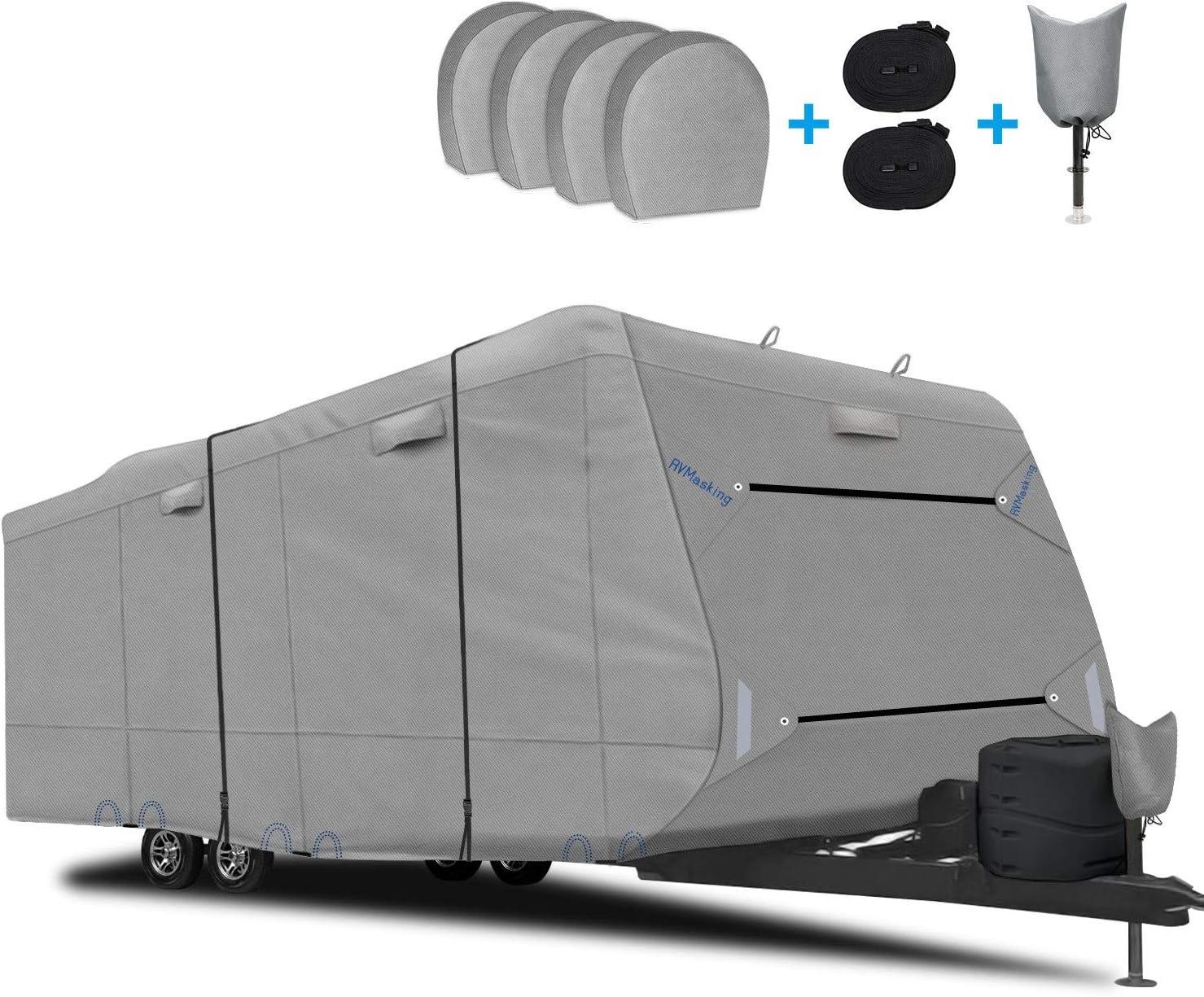 RVMasking Upgraded Waterproof & Windproof Travel Trailer RV Cover Camper