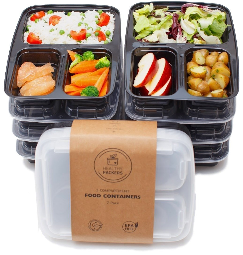 compartment meal prep food containers food storage portion control lunch box kit. Black Bedroom Furniture Sets. Home Design Ideas