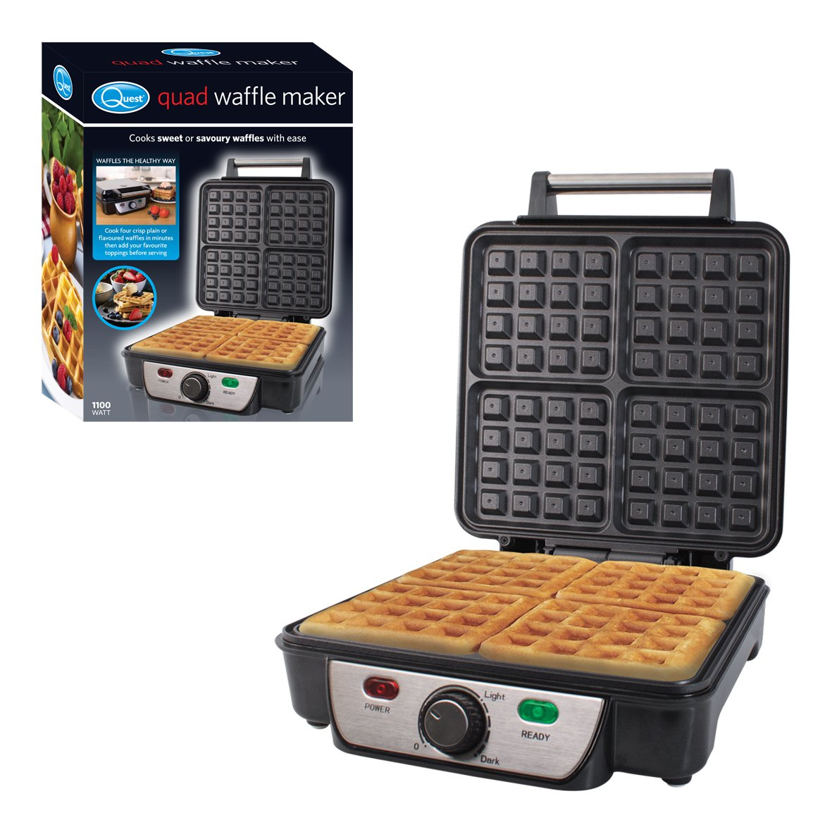 Quest Quad Belgian Waffle Maker 1100W – Compact Design with Non-stick Coating & Automatic Temperature Control, Cooks up to 4 Waffles Benross Group 35940