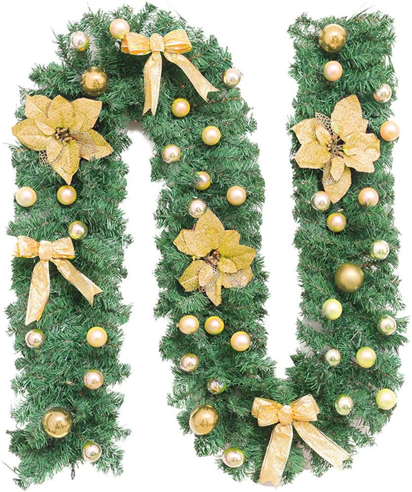 Treer Xmas Wreath with LED Lights Cool White,Gold Decoration Illuminated Light Garland for Fireplaces Stairs Hanger Door Wall Windows Home Flower Ball Christmas Tree Festive Decor