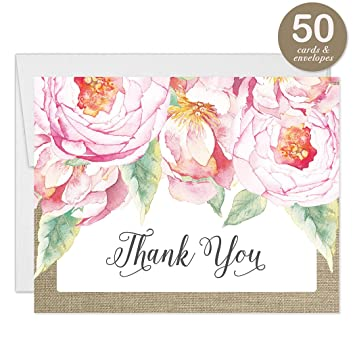 Amazon Com Pink Peonies Rustic Blooms Thank You Cards With